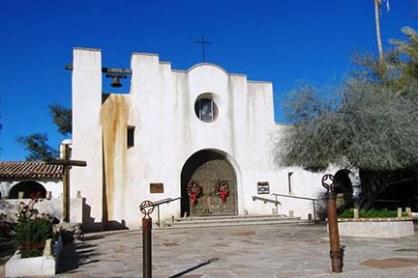 church with wreath